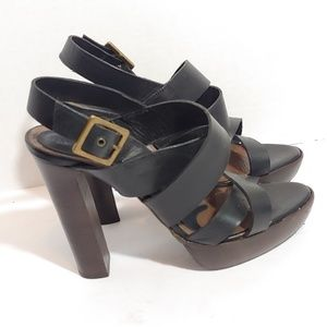Marni black leather stacked heel strappy sandals